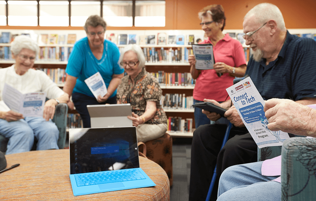 Image senior Territorians using and learning how to use technology