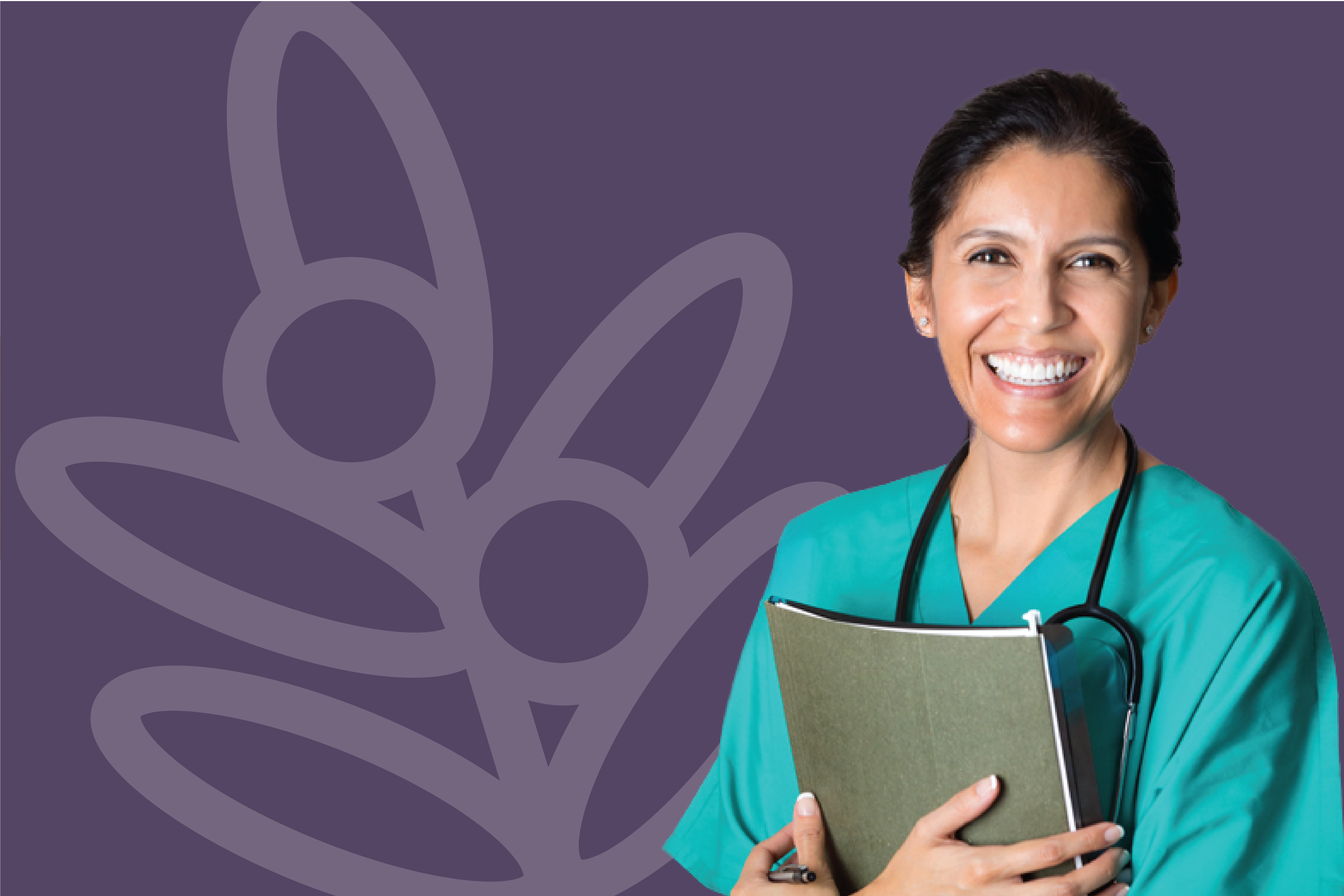 Nurse with paperwork standing in front of a purple wall with the acacia logo